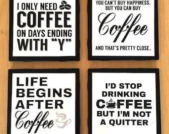 Set of 4 Funny Coffee Coasters