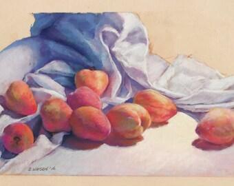 Original Painting Still Life Peaches Drapery ArtEqualsJoy