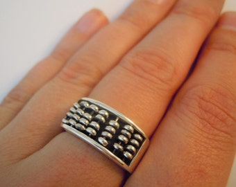 Sterling Silver 'Abacus' Ring with Wire and Beads Item #109