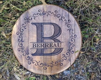 Monogram with Border Bourbon Barrel Head