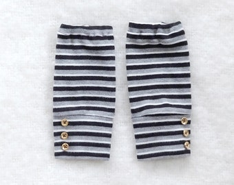 Black Gray and White Pinstripe/Striped Vintage Style Leg Warmers for Baby Boy or Girl