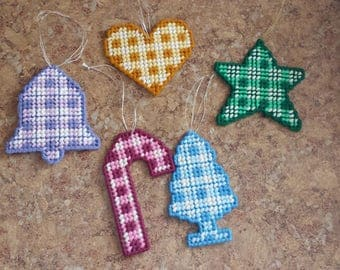 Set of 5 Plastic Canvas Ornaments-2
