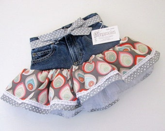 Girl/toddler 5T recycled jean skirt with gray ruffles, tulle and lace. Jean tutu/upcycled clothing/little girls clothing/tutu dresses