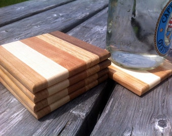 Square Wood Coaster Set of 5