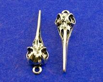 4 pcs - Bird Skull Charm, Antique Silver Bird Head, Skeleton, Skull Charm- AS-B17416H-8S