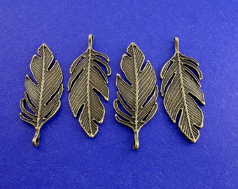 4 pcs- Extra Large Feather Charm, 60mm Antiqued Brass Feather, Antiqued Bronze Feather- AB-B23854H-8S