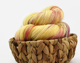 Hand dyed lace yarn sw merino nylon - Lemon Twist
