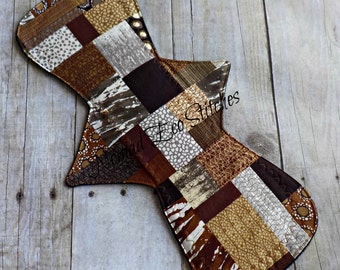 Reusable Cloth Pad/Heavy/Postpartum/Super/Overnight 14 inch-Brown Patchwork