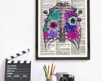 Anatomy Wall Art, Anatomy Dictionary Art, Rib Cage with Flowers, Anatomy Dictionary Print, Anatomical Art Print,  551