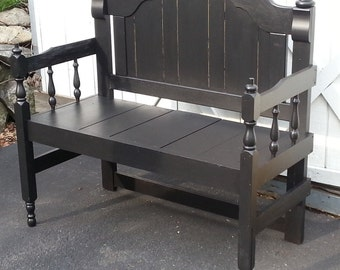 Headboard Bench, Black, Re purposed, Outdoor Seating, Satin, Porch, Gift, Handcrafted, Unique, Furniture, Home Accent, Painted, Country, Sit