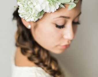 Wedding Flower Crown- Bridal Headpiece- Floral Halo- Wedding Wreath- Ivory Flower Headband- Wedding Crown- Couronne de Fleurs- Boho Bride