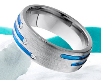 Titanium Wedding Ring Band 8mm Diamond Ring Anniversary Mens Women Titanium Ring Promise Ring Comfort Fit Titanium Diamond Titanium Ring