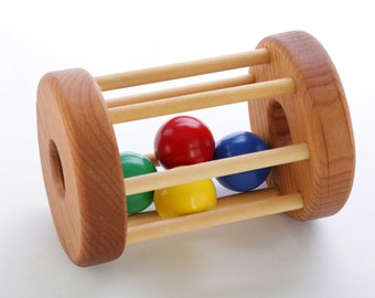 Wooden Tumbler Floor Toy - Montessori  - Natural Rattle - Baby Toy