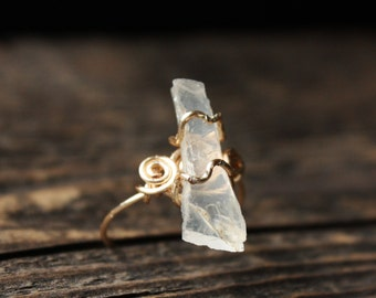 Clear Quartz Crystal Ring - Size 7