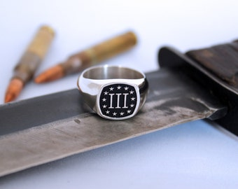 3% Men's Signet Ring, 3 Percent, three percenter - Square