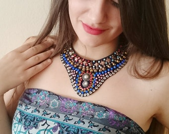 Colorful Statement Necklace Beaded Bib Ethnic Jewelry Bohemian Necklace Gypsy Necklace Gift for Her Chunky Beaded Necklace