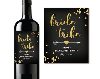 BRIDE TRIBE Wine Bottle Label - Bachelorette Party Champagne Bottle Label - Boho Black & Gold Confetti PRINTABLE