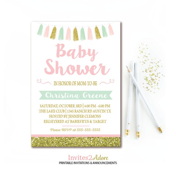 Brand-new Mint, Pink, & Gold Baby Shower Invitation, Gold Glitter Tassel  EN69
