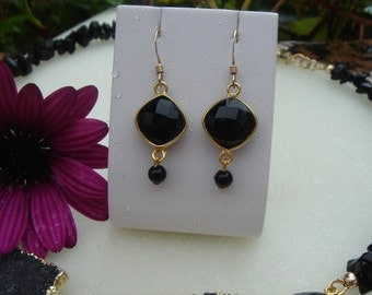 585-er gold filled, Black Onyx earrings!