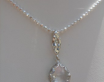 Diamond necklace, sterling silver ball chain with Crystal drops