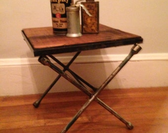Vintage Stool made with reclaimed wood and vintage tire irons, stool, small table, custom table, custom stool, small stool, hot rod stool
