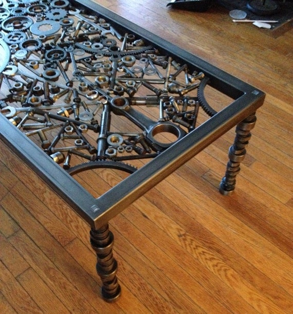 hand made coffee table metal coffee table metal art table. Black Bedroom Furniture Sets. Home Design Ideas
