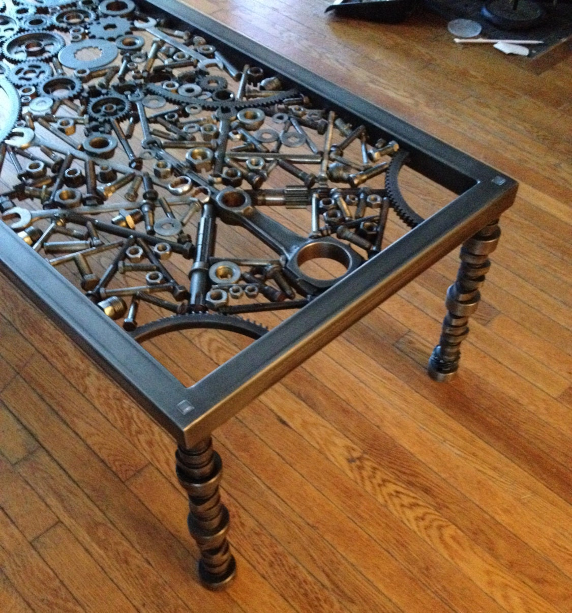 Industrial Unique Metal Designer Coffee Table: Hand Made Coffee Table Metal Coffee Table Metal Art Table