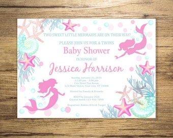 Mermaid Twins Baby Shower Invitation, Twin Girls Mermaid Under The Sea Baby  Shower Invitations,