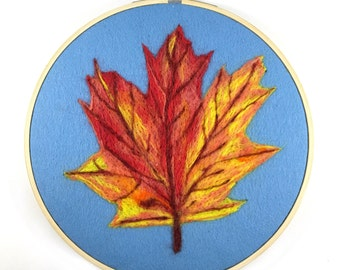 Fall Art, Embroidery Hoop Art, Fall Decor, Autumn Art, Fall Leaf Wall Art, Wool Painting, Fall Gift, Fall Leaf Art, Fall Leaf Wall Decor