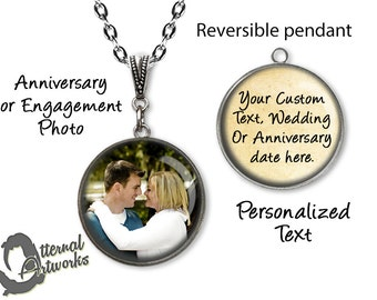 Create your own, Anniversary Gift, Reversible, Photo Pendant Necklace, Engagement Necklace, Personalized Jewelry, Custom Pendant