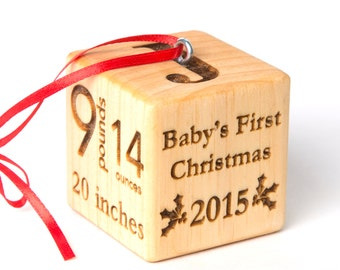 "2"" baby block Christmas Ornament. Personalized baby block with baby stats and first christmas. Wood block ornament. Baby's First Christmas"
