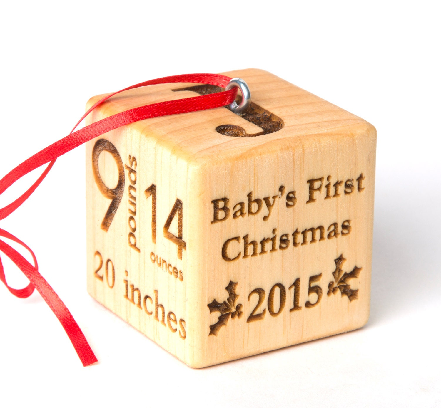2 baby block Christmas Ornament. Personalized baby block