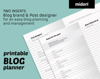 2x1 Blog PLANNER midori insert = monthly planner with post designer + blog management. MTN design for Travelers Notebook printable refill