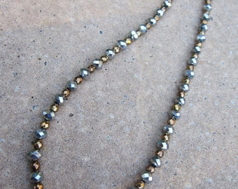 SALE Silver and gold faceted bead necklace