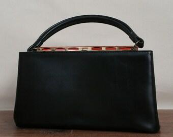 Vintage Mod Purse - 1960's Black Vinyl Faux Leather Handbag by Dova - Faux Tortoise Shell Lucite