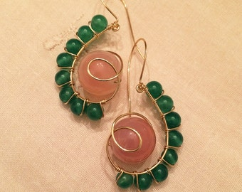 All Natural Pink and Jade agate gemstone gold wire hand wrapped earrings