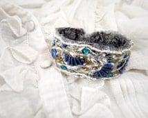 Art Deco beaded cuff bracelet, textile bracelet, Great Gatsby, peacock, blue and gold bracelet
