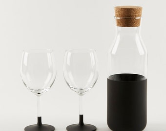 Chalkboard Wine Decanter with Set of 2 Wine Glasses | Wine Gift Set | Holiday Party Gift | Christmas Gift Set