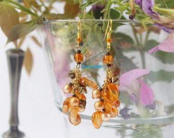 Pendant earrings orange gold with glass beads, handmade,ooak, gift for her, Christmas gift, jewelry for her,orange earrings, nickel free
