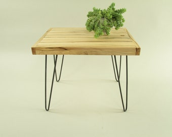 Hardwood Maple Table on hairpin steel legs-THE SLICER made from reclaimed timber,Night stand, Entrance or Side table, Living room furniture,