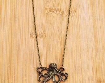 "Octopus Necklace // 24"" Antique Gold Chain // Pendant // Sea Creature // Steampunk // Kracken"