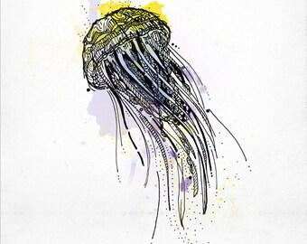 Illustration yellow jellyfish - media mix