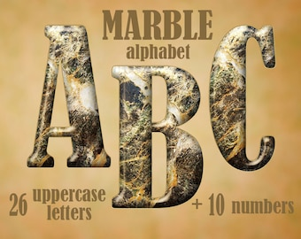Marble digital alphabet clipart, printable marble letters, stone clip art with capital letters and numbers; for commercial use