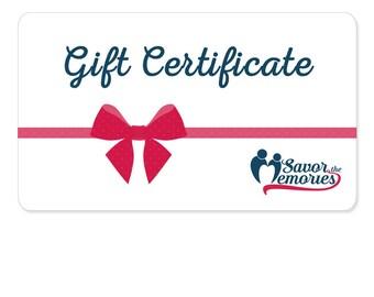 SavorTheMemories Gift Certificate