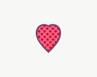 Heart Applique Machine Embroidery Design - 5 Sizes