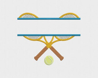 Split Tennis Rackets Machine Embroidery Design - 2 Sizes