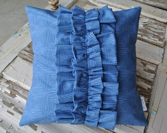 Ruffle Pillow- Royal Blue