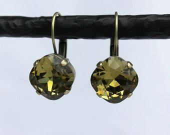 Khaki Green 12mm Cushion Cut Swarovski Crystal Drop Earrings - Antique Silver, Antique Brass, and Black Metal Finishes Available