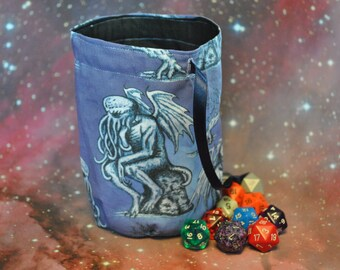 Cthulhu Dice Bag Large with drawstring fully lined Ideal for Arkham Horror & Cthulhu  fans!