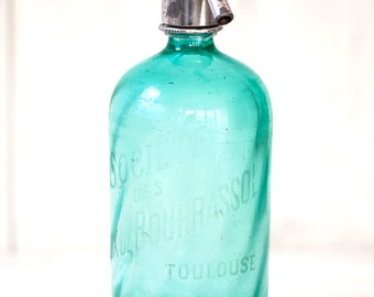 1930s French Emerald / Aquamarine Glass Siphon / Seltzer Bottle - Free Shipping Within the USA